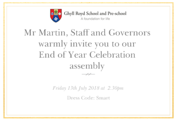 End of Year Celebration invite for Ghyll Royd School