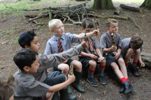Ilkley Primary Schoolboys raise sticks they've collected around forest of their school