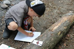 Ilkley Primary Schoolboy wearing cap drawing a picture of a butterfly outside