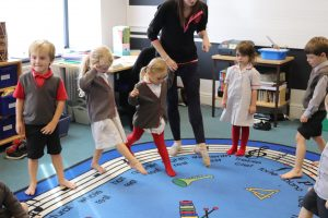Early Years Ballet pupils pointing with their tiptoes
