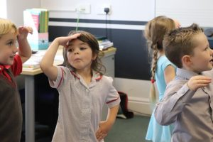 Early Years Ballet pupil looking out for criminals in policeman game
