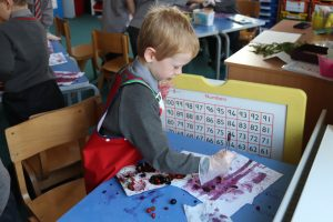 Ghyll Royd School boy paint with juice from berries