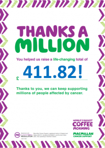 Grandparents' Day/Macmillan Coffee Morning at Ghyll Royd School raised £411.82