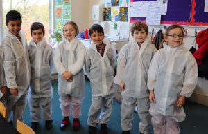 Ghyll Royd pupils try on white forensics suits