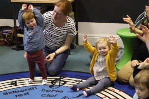Ghyll Royd School playgroup: two girls dancing