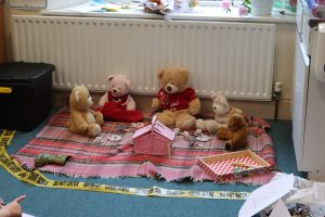 Ghyll Royd pupils had to work out who had stolen the last sandwich from the teddy bears picnic
