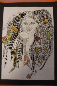 Ghyll Royd Primary school pupil's tudor self portrait filled with things that symbolise them