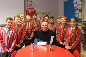 Ghyll Royd headteacher Mr David Martin with year 6 pupils who took independent secondary school entrance exams
