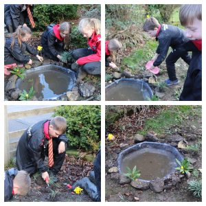Ghyll Royd School pupils dig up pond for the school grounds