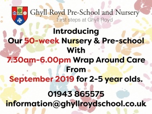 Introducing our 50-week Nursery & Pre-school with 7.30am-6.00pm Wrap Around Care from September 2019 for 2-5 year olds.