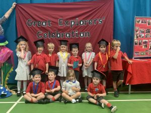Ilkley Nursery pupils form Ghyll Royd wearing their handmade graduation caps