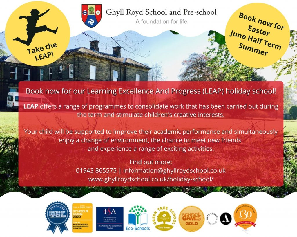 LEAP holiday school poster for primary aged school children in Ilkley and North Leeds areas