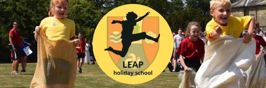 LEAP holiday school at Ghyll Royd School in Ilkley. School logo with silhouette of a child leaping
